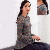 浪漫主義女士鉤織結合微嗽袖套頭毛衣