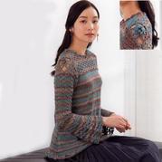 浪漫主义女士钩织结合微嗽袖套头毛衣