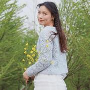 若蝶 仿乐天款蝶形花样女士棒针长袖套衫