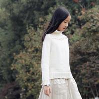 棉花糖白毛衣 文艺风女生棒针高领毛衣
