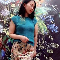 ROWAN丝棉圈织蓝色女士棒针短袖