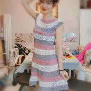 彩虹蔥連衣裙 從領口往下鉤女士育克連衣裙