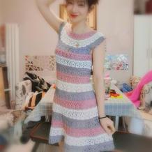 彩虹葱连衣裙 从领口往下钩女士育克连衣裙