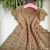 小满圈织儿童棒针短袖连衣裙