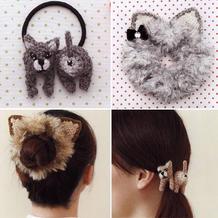 亲亲猫咪主题钩针发圈与发绳 简单有趣好看