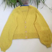 仿织酸柠檬 从领往下织女士棒针插肩开衫