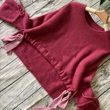 鲜妍 超仙美女士棒针丝带喇叭袖套头毛衣