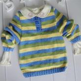 POLO领条纹毛衣(4-3)12个月宝宝棒针毛衣编织视频