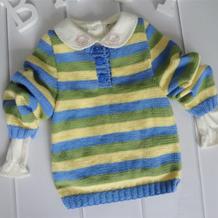 POLO领条纹毛衣(4-4)12个月宝宝棒针毛衣编织视频