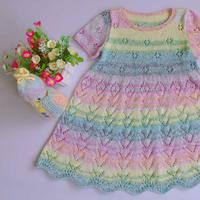 彩虹蕾丝棉儿童棒针短袖连衣裙