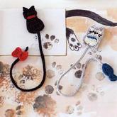 趣味毛线编织猫咪书签图案图解