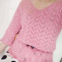 粉红女郎 女士棒针蕾丝马海中袖毛衣(第十届编织大赛作品)