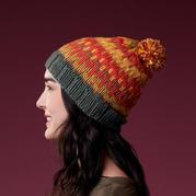 多彩 多色提花棒针毛球帽子织法图文说明