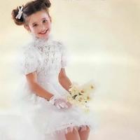 礼服裙 儿童棒针镂空花短袖连衣裙编织图解