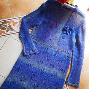 云蕊 原创云马横竖织女士棒针立领连衣裙(第十届编织大赛作品)