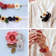 可爱小甜美系钩针猫咪花朵胸针与腕饰