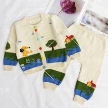 朝阳(11-1)婴幼儿棒针开衫裤子套装织法编织视频