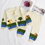 朝阳(11-5)婴幼儿棒针开衫裤子套装织法编织视频