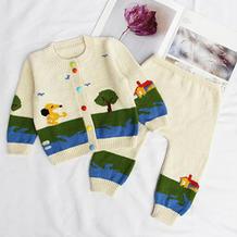 朝阳(11-4)婴幼儿棒针开衫裤子套装织法编织视频