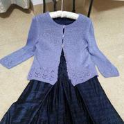 紫菱叶 实用百搭女士棒针长袖短外搭开衫毛衣