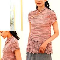 仿中式古典斜襟女士鉤花立領棒針套頭毛衣