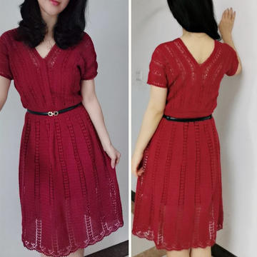 酒紅佳人 凸顯線條女士鉤針V領短袖連衣裙(第十屆編織大賽作品)