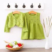 云芽連衣裙套裝(3-1)棒針兒童毛衣編織視頻教程--開衫1