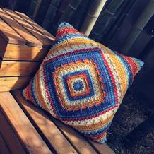 一物两用 复古风钩针曼陀罗花抱枕毯子