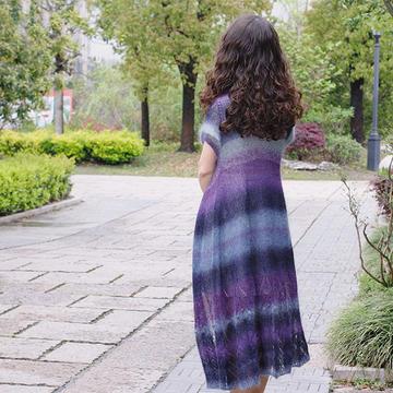 風之翼 女士棒針段染馬海長開衫(第十屆編織大賽作品)