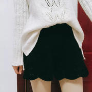 黑莓 女士棒针棒针蕾丝花边短裤