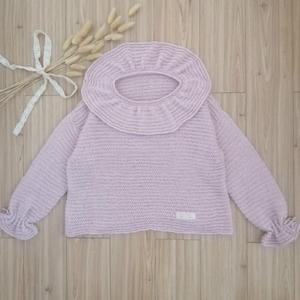 粉樱 仿淘宝成人款改版儿童棒针娃娃领套头毛衣