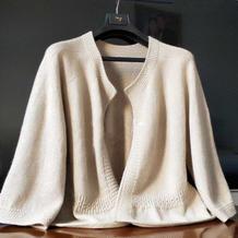 罗绮 从上往下织女士棒针七分袖开衫毛衣