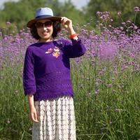 入畫  縱橫織女士棒針七分袖繡花套頭毛衣(第十屆編織大賽作品)