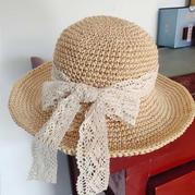 空心線女士鉤針大檐遮陽帽