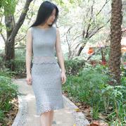 郁金香 修身款女士鉤針套裙(第十屆編織大賽作品)