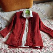 回眸 铁锈红女士棒针喇叭袖开衫(第十届编织大赛作品)