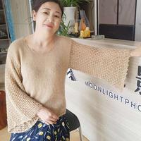 喵夫人驚蟄+新夏至合股織女士棒針水袖套頭毛衣