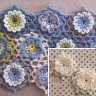 2款可爱钩针立体小花 拼毯子围巾单独装饰都可以