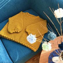 时髦简约实穿姜黄色女士钩针渔网纹泡泡袖毛衣