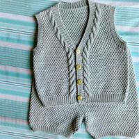 看图仿棒针宝宝马甲背心短裤套装