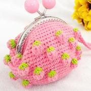 甜美可爱草莓元素钩针糖果口金包编织视频