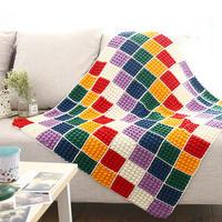 彩虹泡泡毯子(2-2)方形织片钩针拼花毯编织视频