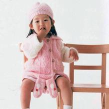 超有爱的兔兔花样儿童棒针翻领开衫与帽子手套