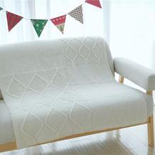 幻想毯 粗针织棒针羊毛扭花毛线毯