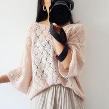 杏花雨 不挑身材女士棒针阔袖镂空花套头毛衣