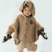 可爱宝宝棒针开襟蝙蝠袖式连帽斗篷