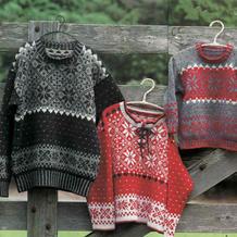 亲子家庭款棒针雪花提花套头毛衣编织图解
