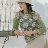 将美景批发市场货穿上身 女士钩针创■意钩花蕾丝拼花衫