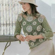 将美景穿上身 女士钩针创意钩花蕾丝拼花衫