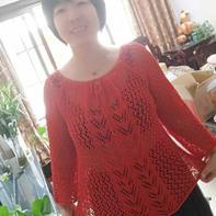 灼华红色罩衫 仿乐天款女士棒针抽绳圆领镂空衫